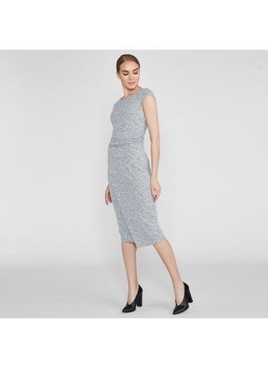 Vekem-Limited Edition Kayık Yaka Kolsuz Midi Elbise Gri
